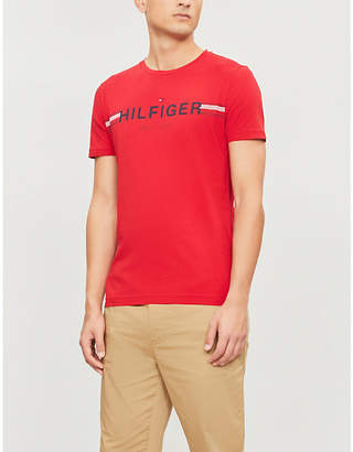 4e6fa2037 Tommy Hilfiger Logo-embroidered cotton-jersey T-shirt