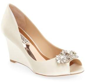 Badgley Mischka 'Dara' Crystal-Encrusted Peep-Toe Wedge