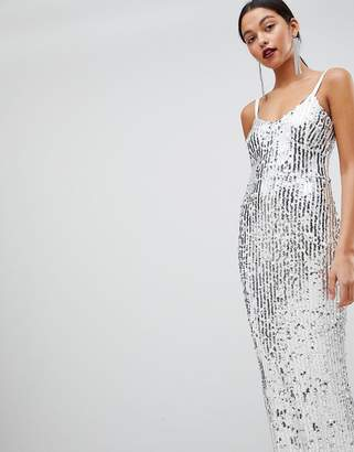 Club L London Mermaid Silver Sequins Strappy Fishtail Detailed Maxi Dress