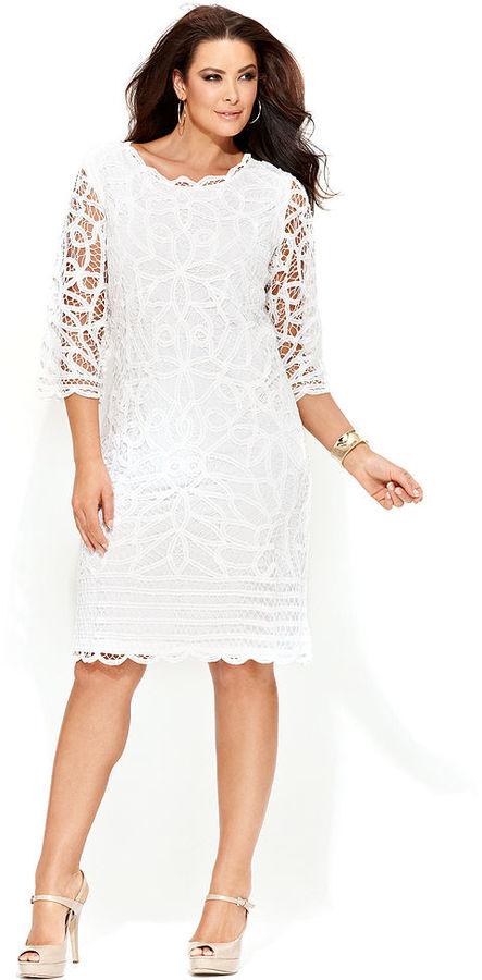 INC International Concepts Plus Size Three-Quarter-Sleeve Lace Dress