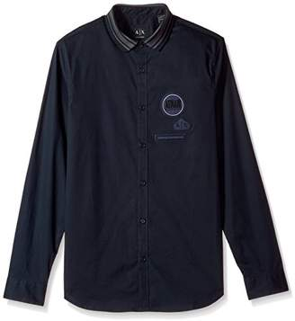 Armani Exchange A|X Men's Patch Detail Long Sleeve Button Down with Knit Collar