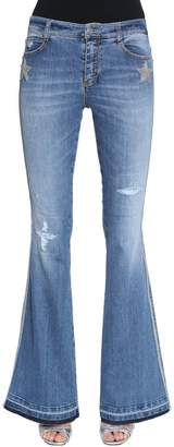 Ermanno Scervino Boot Cut Stars Washed Denim Jeans