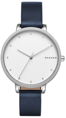 Skagen Round Leather Strap Watch, 34mm $145 thestylecure.com