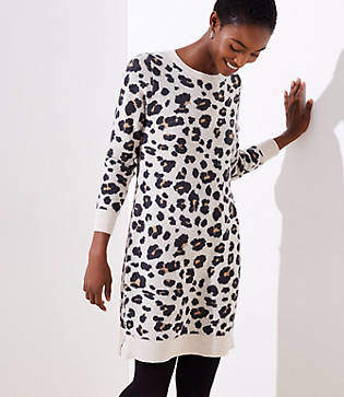 LOFT Leopard Sweater Dress