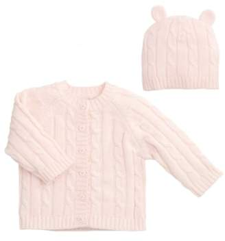 Elegant Baby Cable Knit Sweater & Hat Set