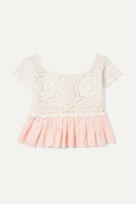 Innika Choo Kids - Crocheted Cotton And Ramie Top - Peach