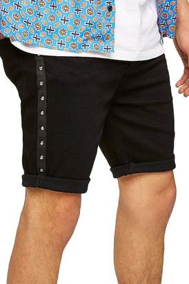 Topman Studded Stretch Skinny Fit Denim Shorts