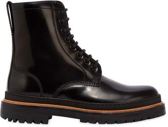 Burberry Polished Leather Lace-Up Boots
