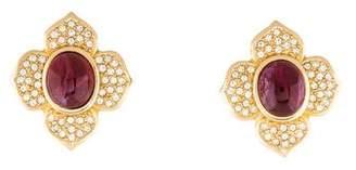 Christian Dior Crystal Floral Clip-On Earrings