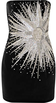 Balmain Strapless Embellished Cotton-velvet Mini Dress - Black