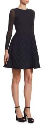 Oscar de la Renta A-Line Fisherman's Knit Dress