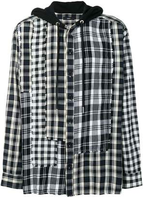 Diesel check hooded shirt