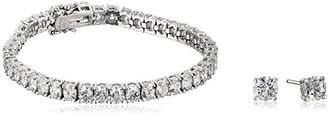 Swarovski Platinum-Plated Sterling Silver Zirconia Tennis Bracelet and 1 cttw Stud Earrings Set