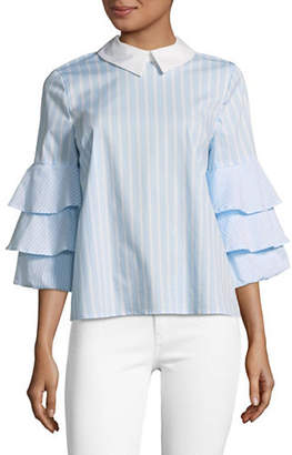 CeCe Tiered Ruffle Sleeve Striped Top