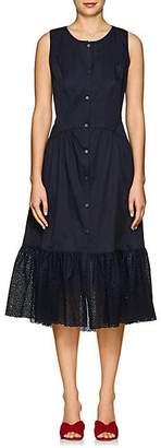 Zac Posen Women's Eyelet-Trimmed Cotton Shirtdress - Navy
