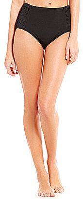 Jantzen Solid High Waist Shirred Tummy Control Swim Bottom $58 thestylecure.com