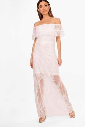 boohoo Scallop Lace Off Shoulder Maxi Dress