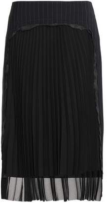 Maison Margiela Pleated Chiffon-Paneled Distressed Pinstriped Wool Skirt