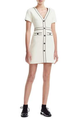 Maje Roppy Cotton Tweed Short Sleeve Minidress