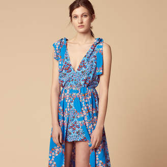 Sandro Long floral print dress with slit