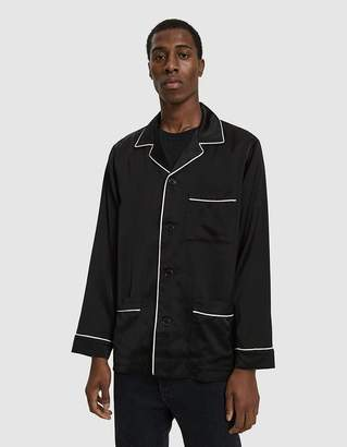 Dries Van Noten Satin Button Up Shirt in Black