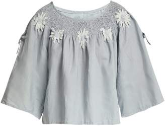 INNIKA CHOO Floral-embroidered linen top