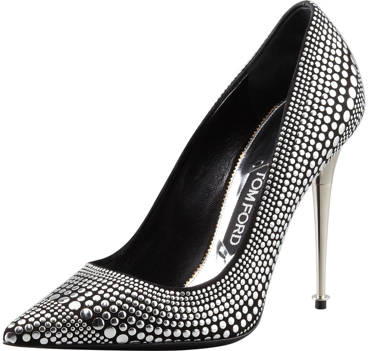 Tom Ford Studded Suede Pointy-Toe Pump