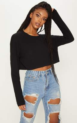 e6a88d0aa720e PrettyLittleThing Black Long Sleeve Rib Crop Top