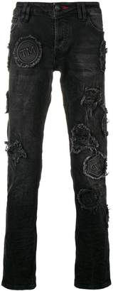Philipp Plein patch detail jeans