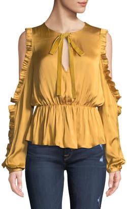 Tularosa Shilo Bow-Tie Ruffled Split-Sleeve Charmeuse Blouse