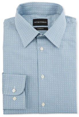Emporio Armani Men's Modern-Fit Tonal Geometric Square Dress Shirt