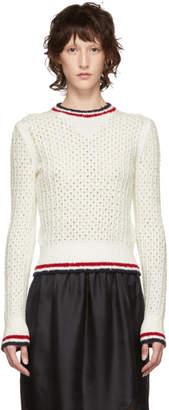 Thom Browne White Open Stitch Knit Sweater