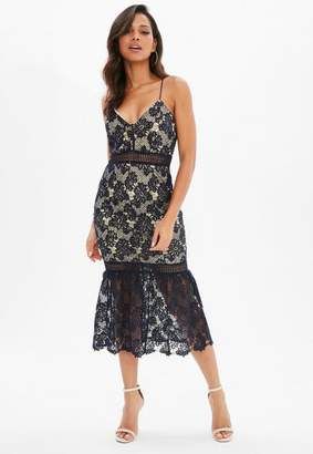 Missguided Navy Lace Fishtail Hem Bodycon Midi Dress, Blue