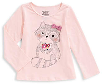 First Impressions Baby Girl's Flower Racoon Cotton Tee