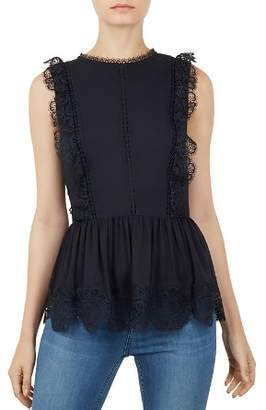 Ted Baker Omarri Lace-Trimmed Peplum Top