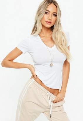 Missguided White V Neck Fitted T Shirt