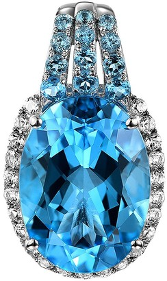 15.00cttw Blue Topaz & White Topaz Enhancer, Sterling