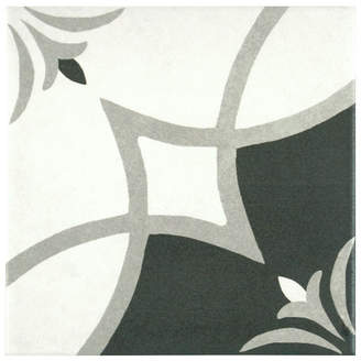EliteTile SAMPLE - Forties 7.75 x 7.75 Ceramic Floor and Wall Tile in Crest White and Gray
