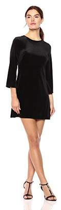 Wild Meadow Women's 3/4 Sleeve Stretch Velvet A-Line Dress with Lace Back Insert S