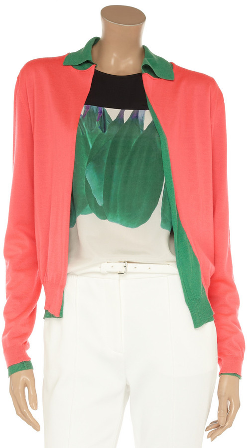 Marni Reversible layered fine-knit cashmere cardigan