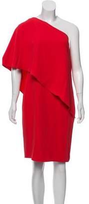 Carmen Marc Valvo One-Shoulder Knee-Length Dress