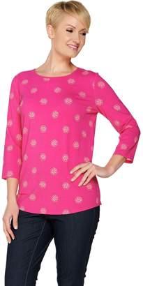 C. Wonder 3/4 Sleeve Floral Dot Print Knit Top