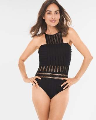 Kenneth Cole Tough Luxe High-Neck One-Piece Swimsuit