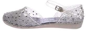 Stuart Weitzman Rubber Embellished Sandals