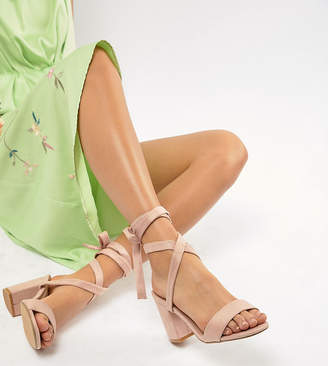 Park Lane Parklane Wide Fit Tie Leg Block Heeled Sandals
