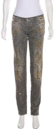 DSQUARED2 Glittered Low-Rise Skinny Jeans