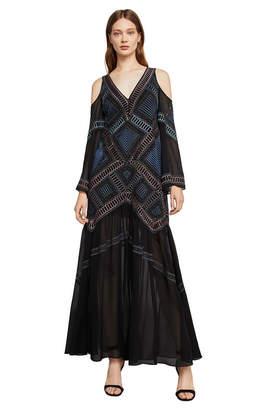 BCBGMAXAZRIA Daphne Embroidered Cold-Shoulder Gown
