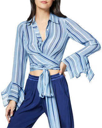 Ramy Brook Hayven Striped Button-Front Wrap Top