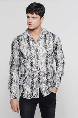 boohoo Snakeskin Print Long Sleeve Revere Satin Shirt