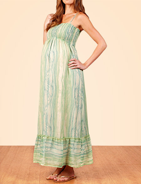 Spaghetti Strap Smocked Maternity Dress